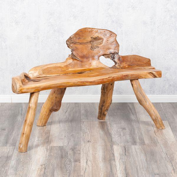 Teak Sitzbank PRIMITIV ca.130cm Natural (poliert, glänzend)