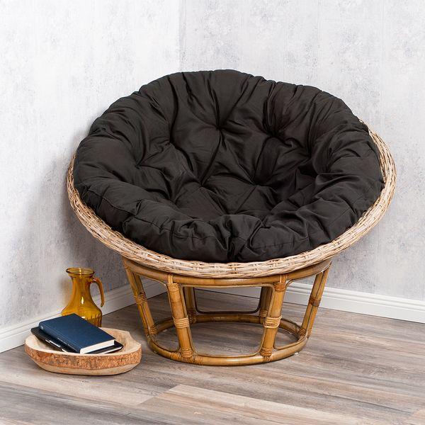 Rattan-Relax-Sessel JAVA schwarz 100cm inkl. Kissenauflage – Bild 2