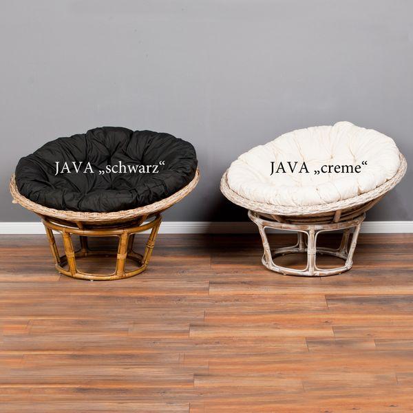 Rattan-Relax-Sessel JAVA schwarz 100cm inkl. Kissenauflage – Bild 9