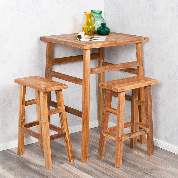 3tlg. Bar-Set GEMI Teak (2x Hocker & 1x Tisch) Massivholz