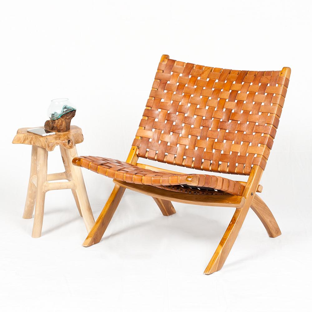 Lounge Stuhl ATANI Leder Cognac 65x75x75cm BxHxT Teak