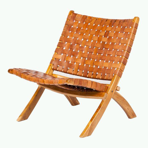 Lounge-Stuhl ATANI Leder Cognac 65x75x75cm (BxHxT) Teak klappbar – Bild 1