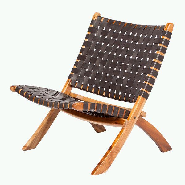 Lounge-Stuhl ATANI Leder Dark-Brown 65x75x75cm (BxHxT) Teak klappbar – Bild 1