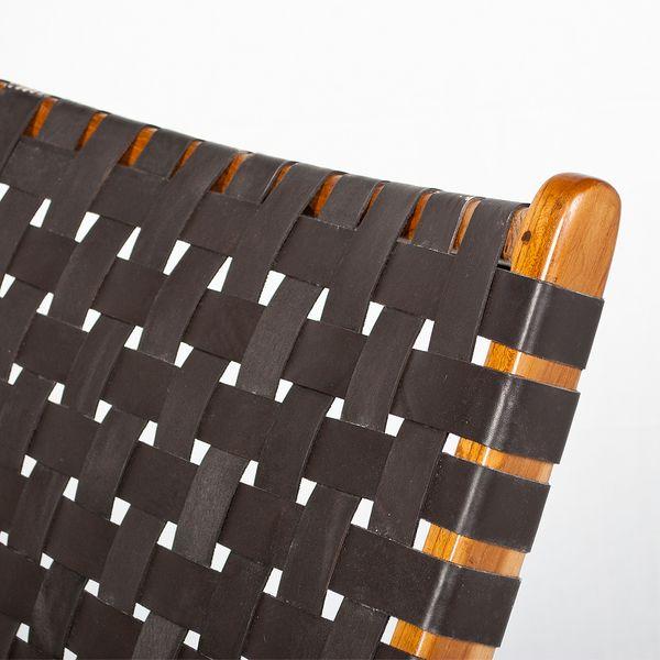 Lounge-Stuhl ATANI Leder Dark-Brown 65x75x75cm (BxHxT) Teak klappbar – Bild 4