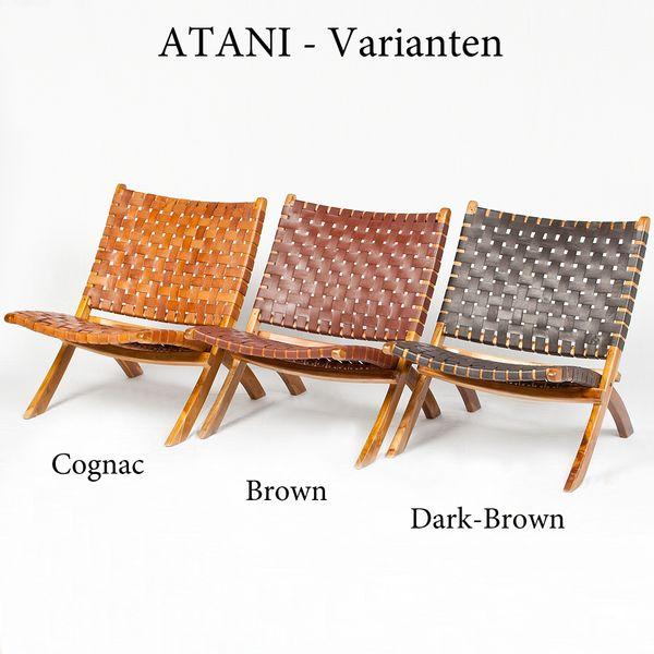 Lounge-Stuhl ATANI Leder Dark-Brown 65x75x75cm (BxHxT) Teak klappbar – Bild 8