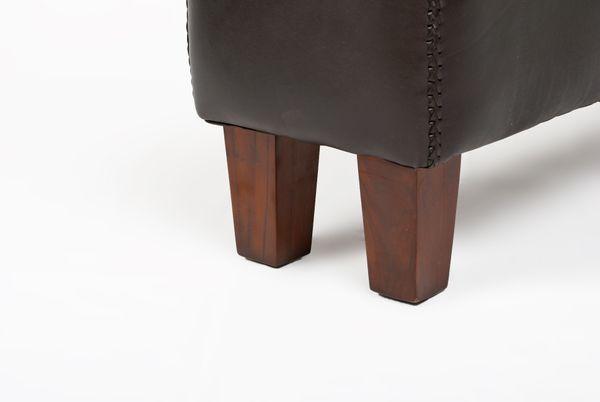 Bank SENAM Dark-Brown Leder / Teak ca. 110cm Sitzbank – Bild 5