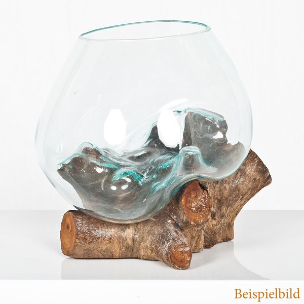 Deko-Glas DROP-5 ca. 25x25x25cm (BxHxT) Teak Natural Handarbeit Schale – Bild 2