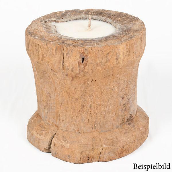 Reisstampfgefäß ANTIGUO Teak ca. 40-50cm Höhe inkl. Kerze Antik Massivholz – Bild 3