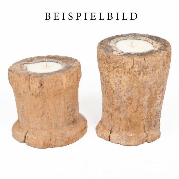 Reisstampfgefäß ANTIGUO Teak ca. 40-50cm Höhe inkl. Kerze Antik Massivholz – Bild 5