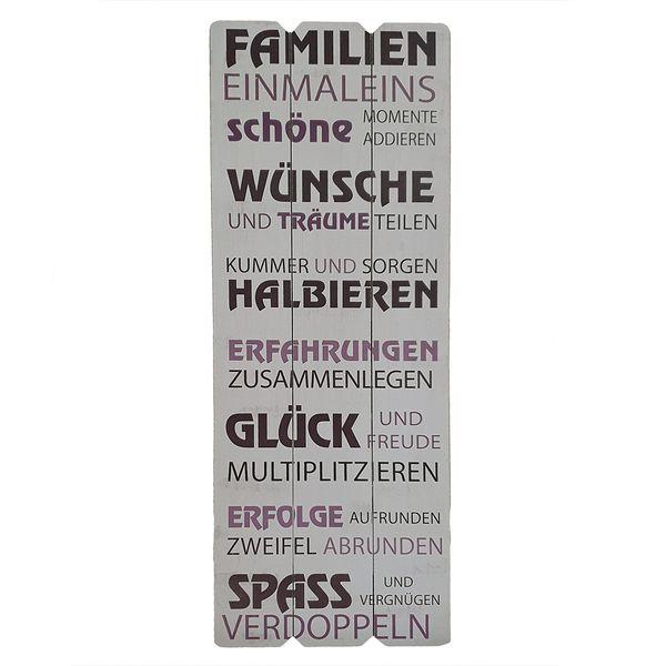Holzschild FAMILIE EINMALEINS 30x80cm Deko-Wandbild Schild