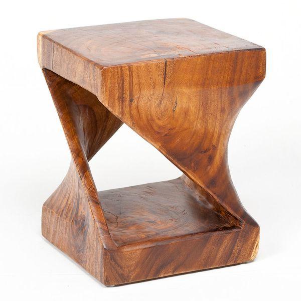 Beistelltisch MILLENIUM ca. 45cm Suar-Holz Massivholz Telefontisch Deko-Säule – Bild 4