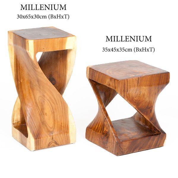 Beistelltisch MILLENIUM ca. 45cm Suar-Holz Massivholz Telefontisch Deko-Säule – Bild 6