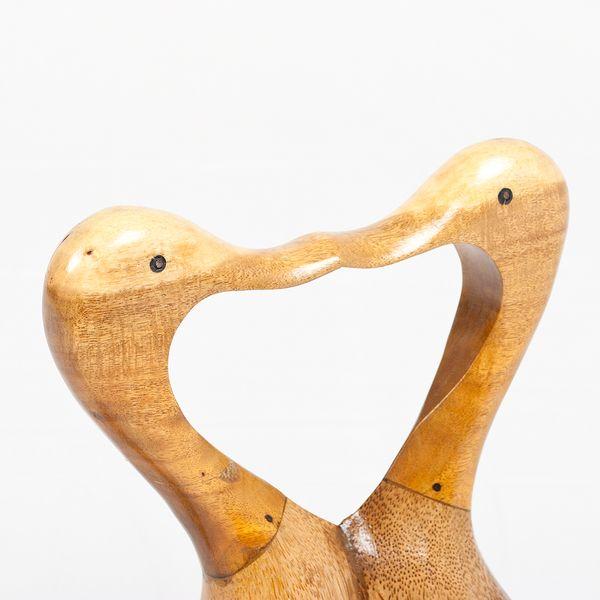 Deko-Figur DUCK LOVE ca. H35cm Bambus / Teak Natural Holz Handarbeit – Bild 3