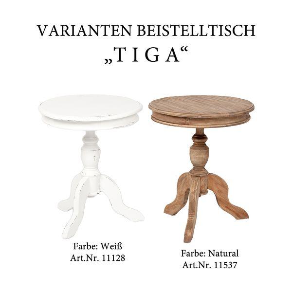Beistelltisch TIGA D50cm weiß Landhaus – Bild 5