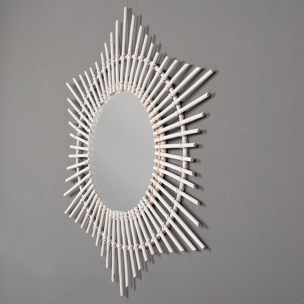 Rattan Spiegel JADI Weiß 80x90cm (BxH) – Bild 3