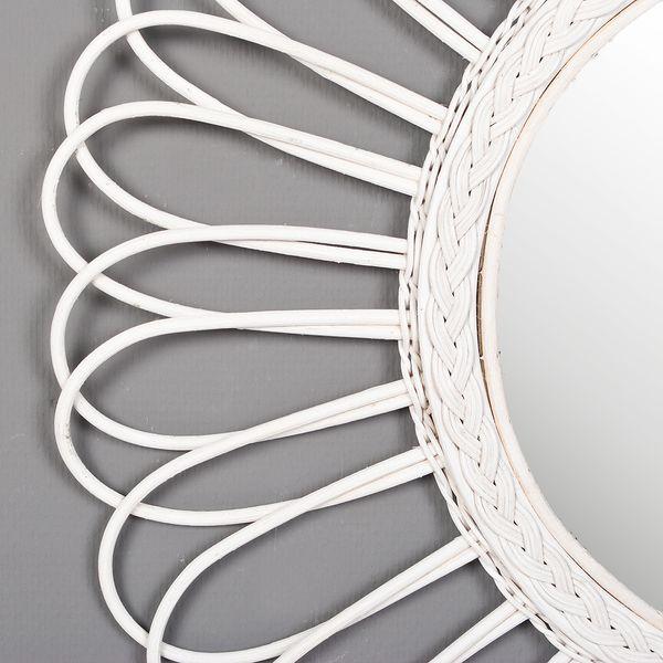 Rattan Spiegel BULAN Weiß Ø 80cm – Bild 3