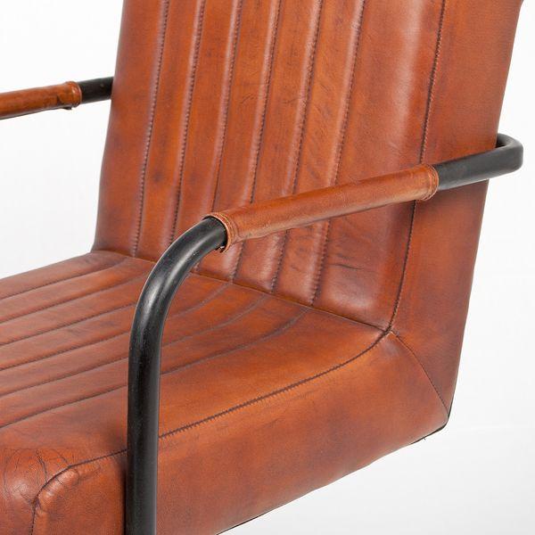 Freischwinger KANJA Leder Metall Moyen-Brown Designer Armlehnenstuhl – Bild 4