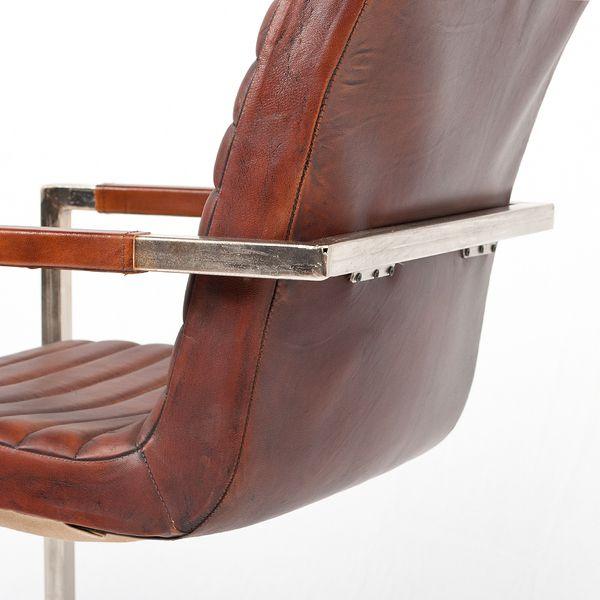 Freischwinger ANIL Leder│Metall Sombre-Brown Designer Armlehnenstuhl – Bild 4