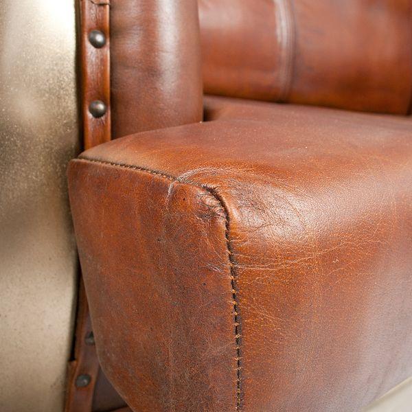 Leder-Sofa INDUSTRY ca. L160cm Silver Antique Leder│Metall Oldtimer – Bild 4