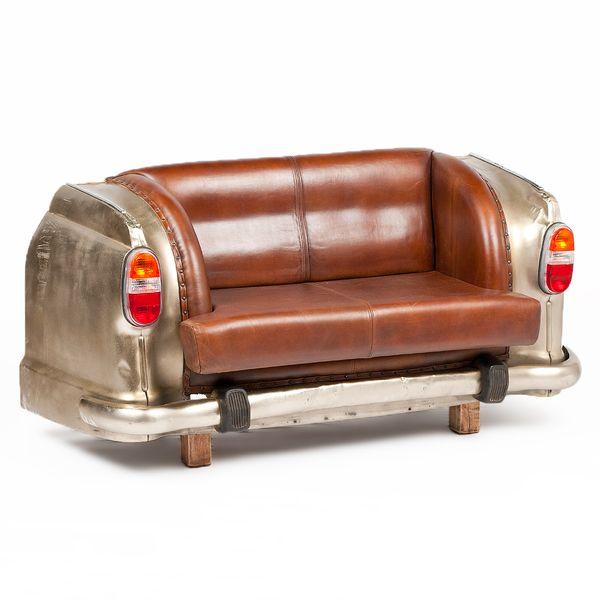 Leder-Sofa INDUSTRY ca. L160cm Silver Antique Leder│Metall Oldtimer – Bild 1