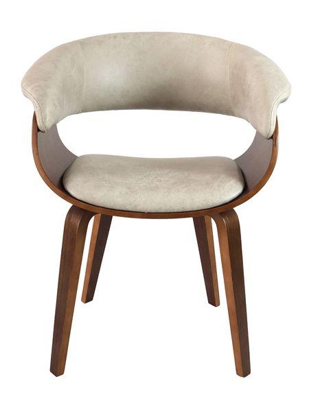Lounge Sessel SELLA Cream-Q Vollholz Textilleder Stuhl Design Armlehnenstuhl – Bild 3