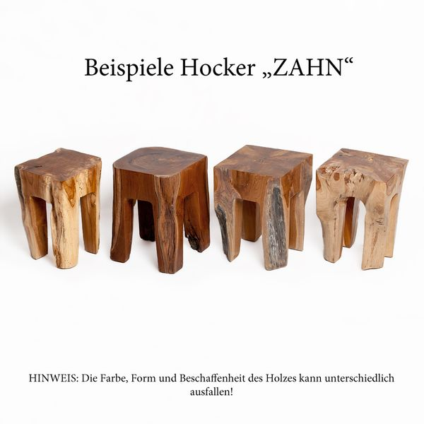 Teak Hocker ZAHN H40cm Beistelltisch Massivholz – Bild 8
