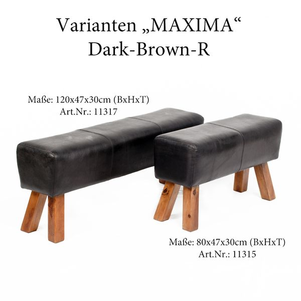 Leder-Bank MAXIMA 80cm Dark-Brown-R (G-Leather-D) – Bild 6
