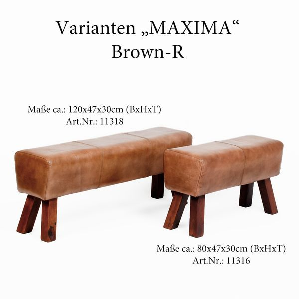 Leder-Bank MAXIMA 120cm Brown-R (G-Leather-B) – Bild 6