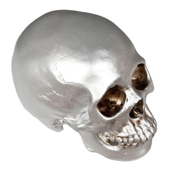 Schädel SKULL Silber H12cm Polyresin – Bild 1