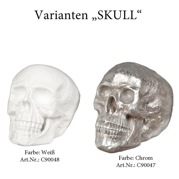 Totenkopf SKULL Chrom 40x37x46cm (BxHxT) Polyresin Schädel – Bild 5