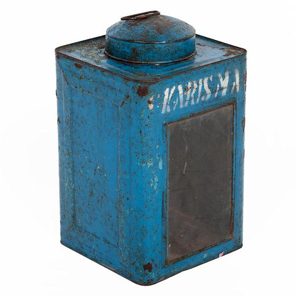 Metall Laterne CRACK ca. H40cm Antik-Blau – Bild 1