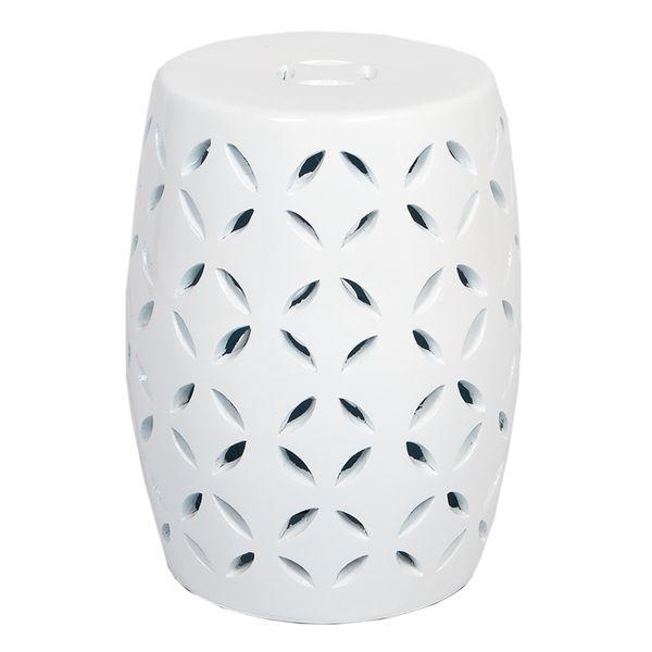 Terracotta Beistellisch MADARIN Farbe Weiß H40cm Hocker – Bild 1