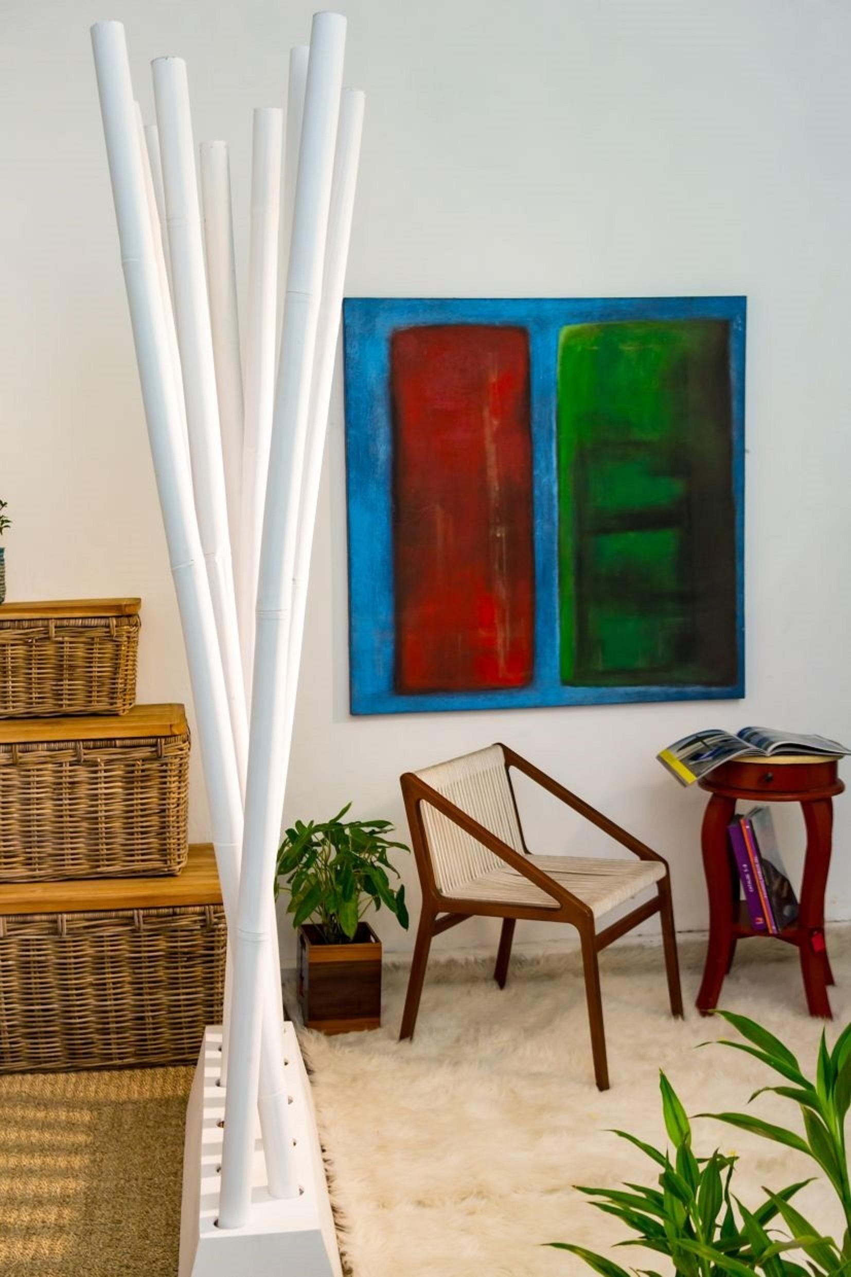 Bambus Raumteiler PARAVENTO Weiß ca.B97xH200cm Sichtschutz Paravent Raumtrenner