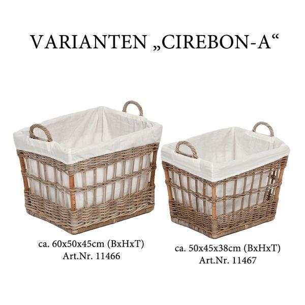 Rattankorb CIREBON-A Natural-Grau 60x50x45cm (BxHxT) mit Inlay – Bild 4