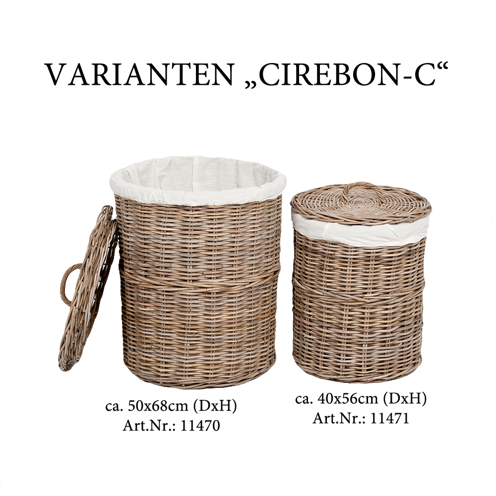 rattankorb cirebon c natural grau ca 50x68cm dxh mit deckel und inlay 7066. Black Bedroom Furniture Sets. Home Design Ideas