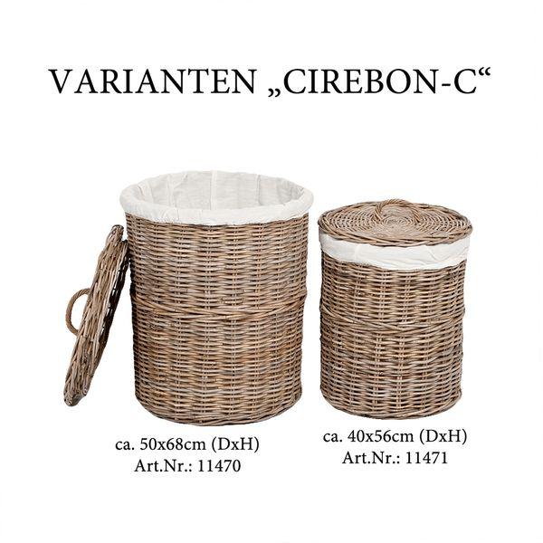 Rattankorb CIREBON-C Natural-Grau ca. 50x68cm (DxH) mit Deckel und Inlay – Bild 4
