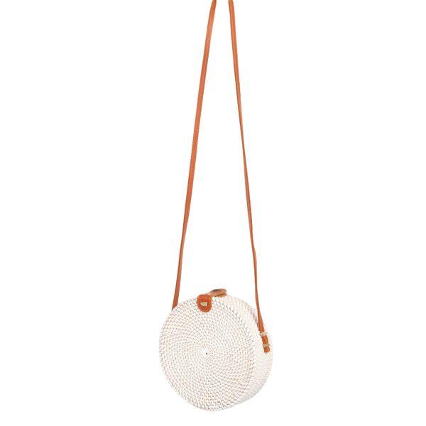 Rattan Handtasche TONDO ca. D20cm White Wash Bali – Bild 1