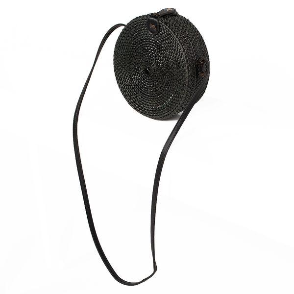 Rattan Handtasche TONDO ca. D20cm Black Bali – Bild 5
