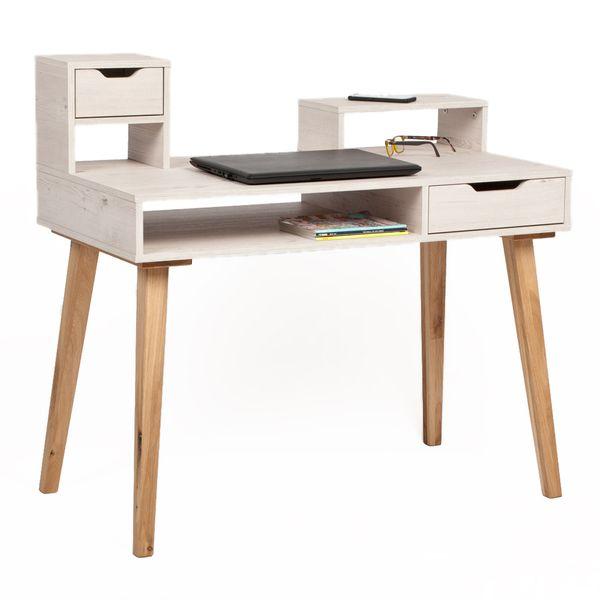 Sekretär HEMLOCK L105cm Teilmassiv Eiche/MDF Schreibtisch – Bild 2