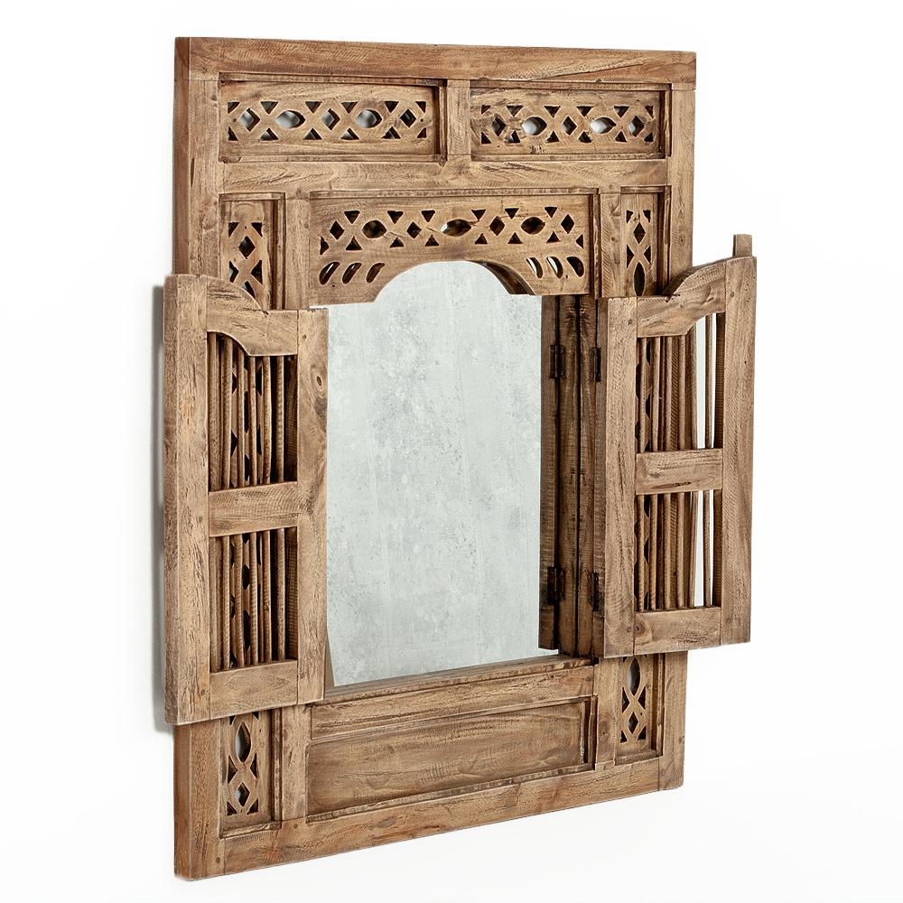 Spiegel PUERTA 80x90cm Natural Mahagoni Wandspiegel mit Türen
