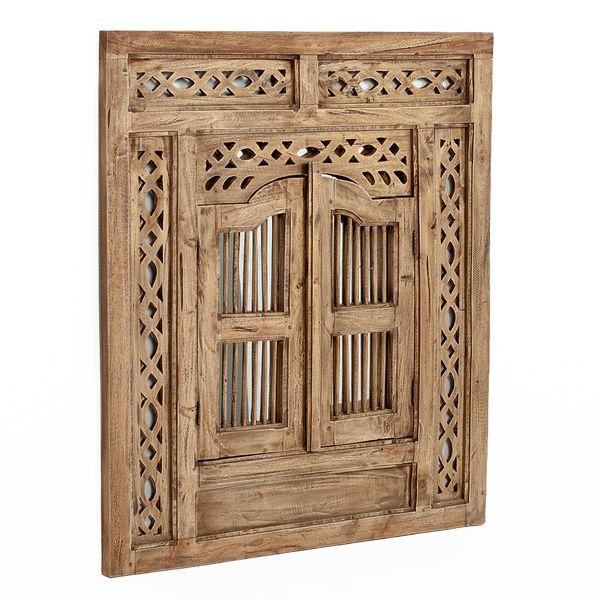 Spiegel PUERTA 80x90cm Natural Mahagoni Wandspiegel mit Türen – Bild 3