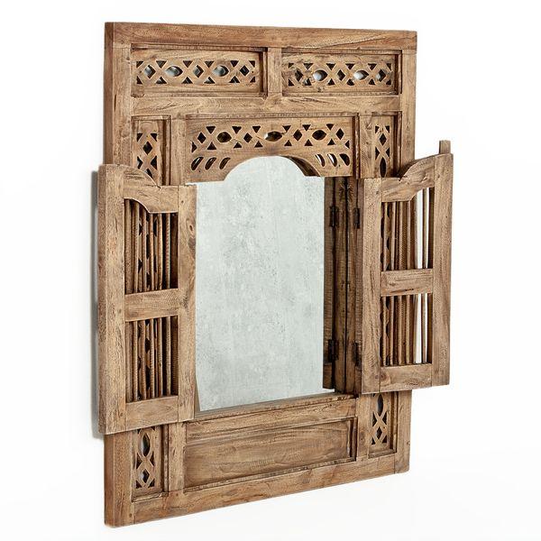 Spiegel PUERTA 80x90cm Natural Mahagoni Wandspiegel mit Türen – Bild 1