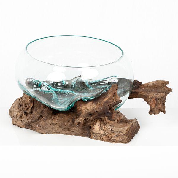 Deko-Glas DROP-6 ca. L40cm Teak Natural Handarbeit Schale – Bild 1