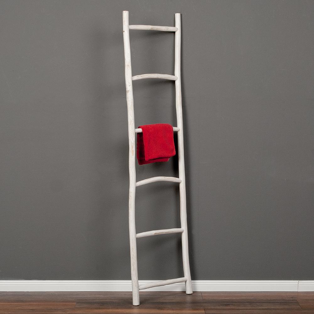 Deko-Leiter KEPALA H180cm White Wash Teak Handtuchhalter Kleiderständer
