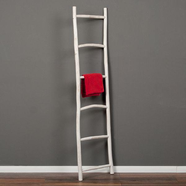 Deko-Leiter KEPALA H180cm White Wash Teak Handtuchhalter Kleiderständer – Bild 1