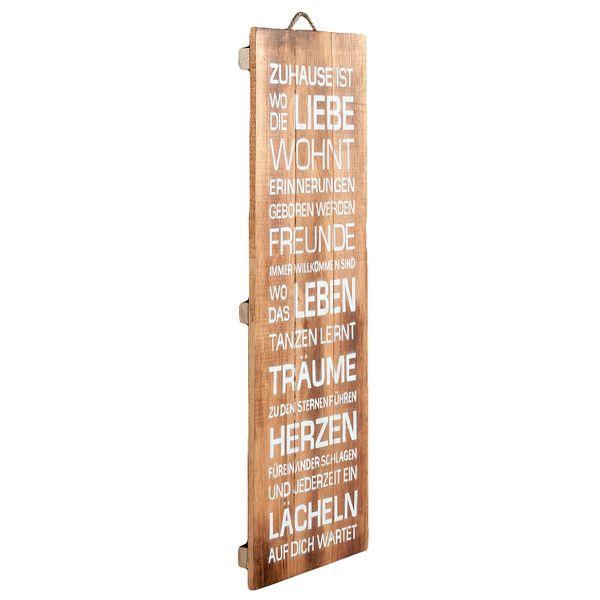 Deko-Wandbild ZUHAUSE 30x80cm Holz Weiß/Geflammt – Bild 2