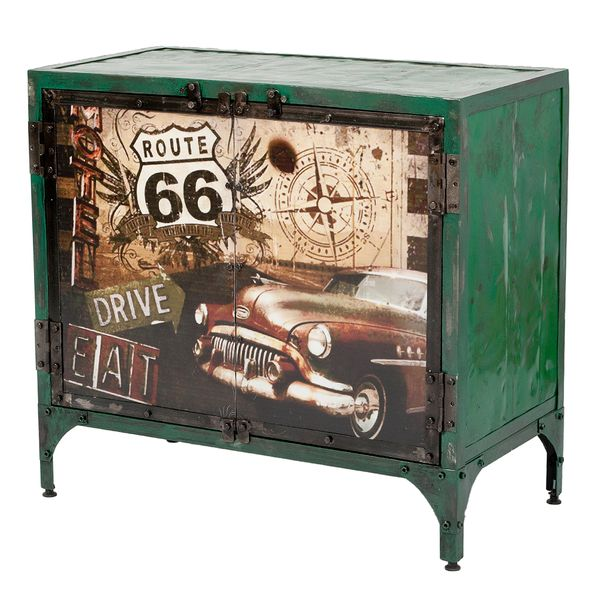 Kommode LOGAM-ROUTE 66 L80cm recyceltes Metall – Bild 1