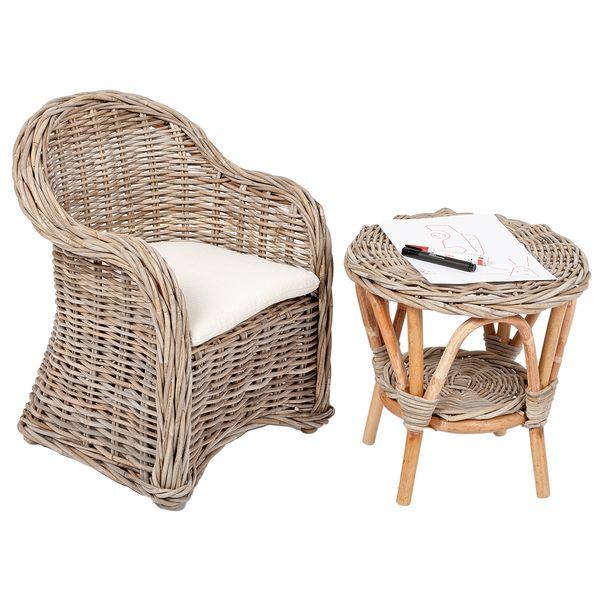 Rattan Kinder-Sessel LOTTI Natural Grey inkl. Sitzkissen ca. H60cm – Bild 3