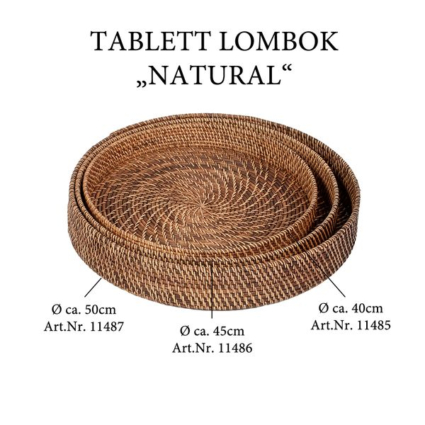 Tablett LOMBOK Natural D40cm – Bild 4