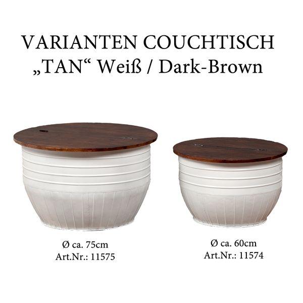 Couchtisch TAN Weiß Dark Brown-M ca. D75cm Akazie Beistelltisch – Bild 5